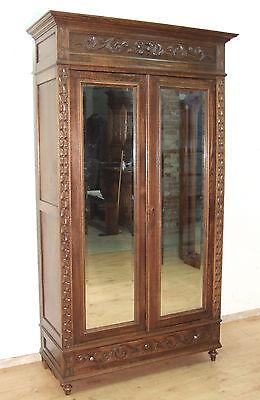EF15  Schöner antiker Schrank  Kleiderschrank Bretagne um 1890 massiv Kastanie