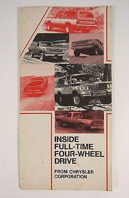 1976 DODGE TRUCK Chrysler Four-Wheel Drive Automobile Car Booklet Dodge Four Wheel Drive