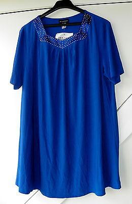 wunderschönes Damenshirt Shirt Polyester Elasthan Satineinsatz royalblau Gr. 48 Royal Polyester Satin