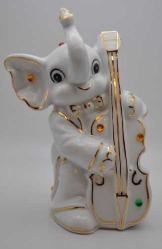 White Elephant Ceramic Coin Piggy Bank w/ Colorful Bead Accents Playing Cello