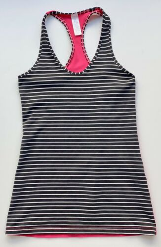 Ivivva Girls Black White Pink Stripe Racerback Athletic Tank - Size 14
