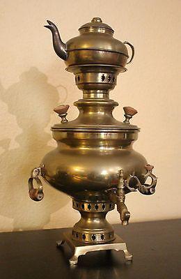 Russian Antique Brass Samovar with Tea Pot