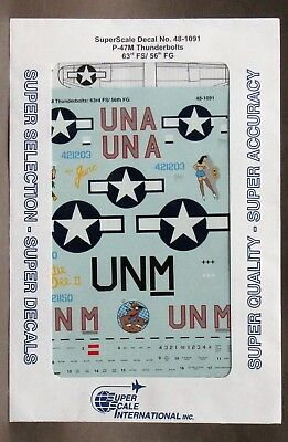 1/48 SuperScale Decals 48-1091 P-47M THUNDERBOLTS 63rd FS / 56th FG mint