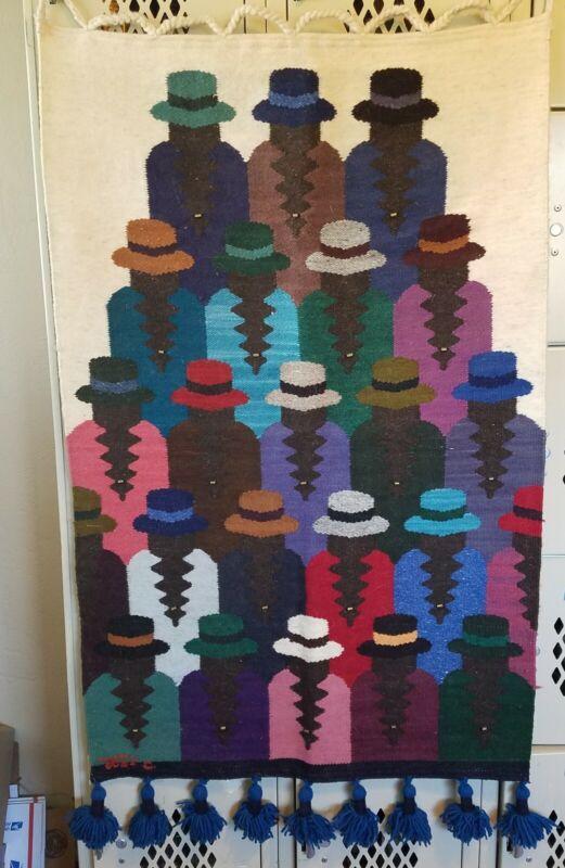 Jose Cotacachi 100% Wool Hand Weaving Tapestry Wall Hanging/Ecuador 40 X 24