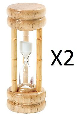 Norpro 3 Minute Hourglass Egg Game Timer Wood Base With Glass 1473 (2-Pack)