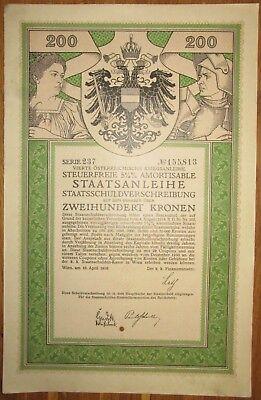 ÖSTERREICH AUSTRIA 4. Kriegsanleihe 200 Kronen 1916 Austrian War Loan