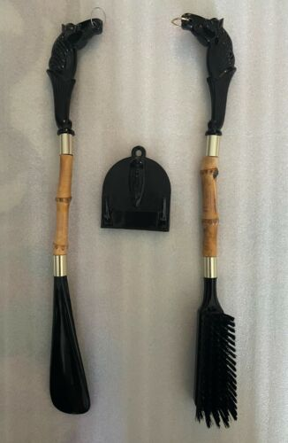 Vintage 60s Bamboo Clothes Brush & Shoehorn 3 Piece Set w/ HANGER Horse Head