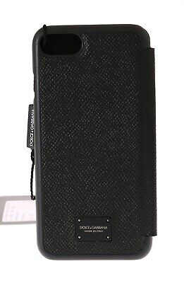 NEW $300 DOLCE & GABBANA Phone Case Black Dauphine Leather Cover Logo iPhone7