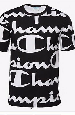 Champion Life Heritage All Over Print Giant Script T Shirt Black White L NWT Giant Script Tee