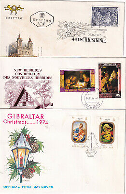 3 CHRISTMAS First Day Covers Cachet unaddressed Gibraltar, Austria, New Hebrides
