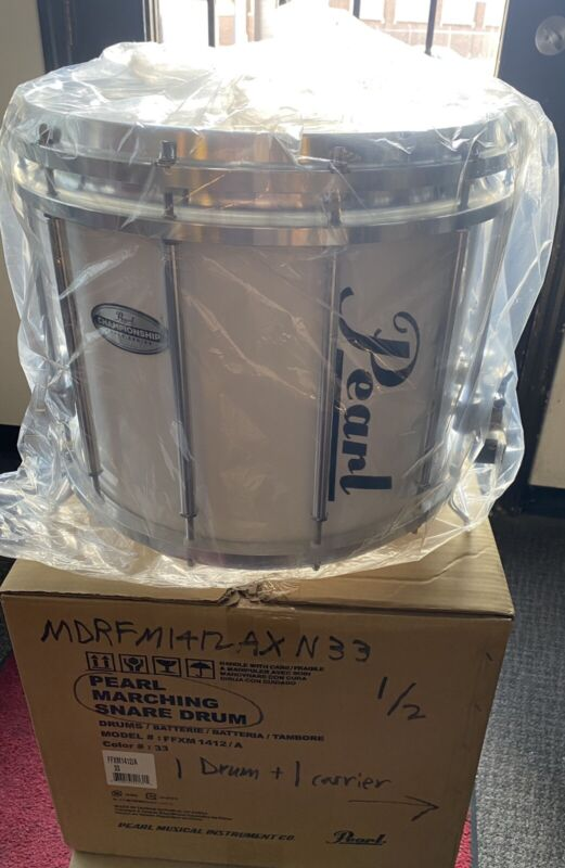 """Pearl Championship Maple 14""""x12"""" FFX  Marching Band Snare Drum, White,New In Box"""