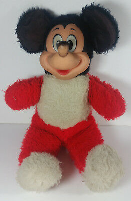 Vintage Mickey Mouse Plush 13in Disney Productions Stuffed Animal Rubber Face