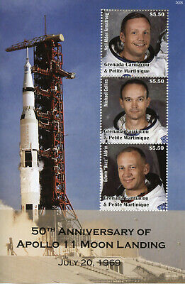Grenada Grenadines Space Stamps 2020 MNH Apollo 11 Moon Landing Armstrong 3v M/S
