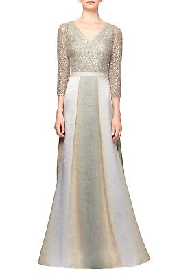 Kay Unger Women's Gown in Pewter Gold Cream Beige Lace Sequins Bodice Size 8 NWT