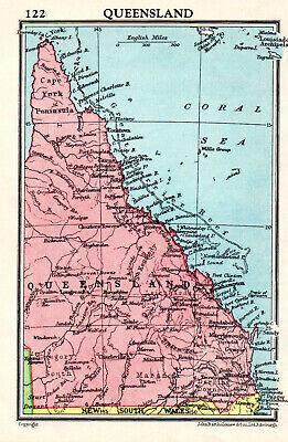 Map Of Australia Queensland John Bartholomew Vintage 1951