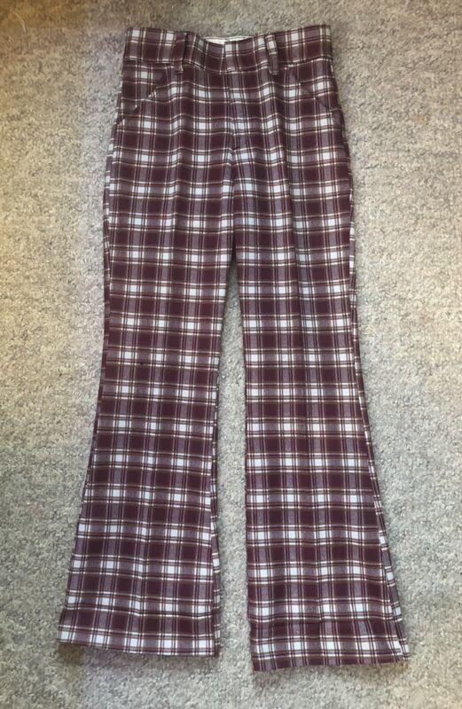 Vintage 70s levis plaid burgundy bell bottom pants
