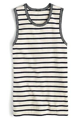 NEW J.Crew Striped Metallic Trim Tank Top Ivory/Navy Blue Size Small S F8815 Metallic Trim Tank