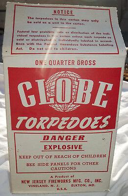 "VINTAGE ORIGINAL ""GLOBE TORPEDOES"" NEW JERSEY FIREWORKS MFG. CO. EMPTY BOX!!!"