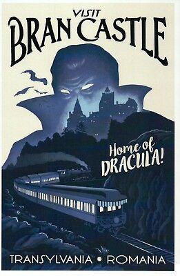 Bran Castle Transylvania Romania, Home of Dracula, Vampire Bats Train - Postcard