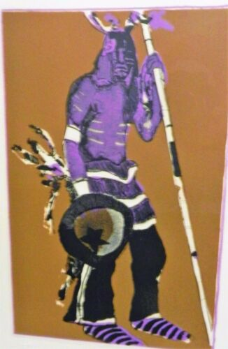 ORIG FRITZ SCHOLDER INDIAN WITH SHIELD 3 COLOR LITHOGRAPH, #45/100,PENCIL SIGNED