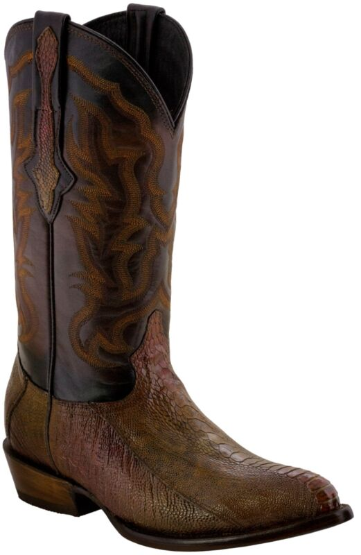 Mens, Honey, Real, Ostrich, Foot, Exotic, Skin, Leather, Cowboy, Boots, Western, J, Toe