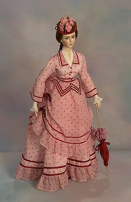 """FOR 27"""" Lady Marion Doll 1870 Summer Visiting Dress Sewing Pattern #85"""
