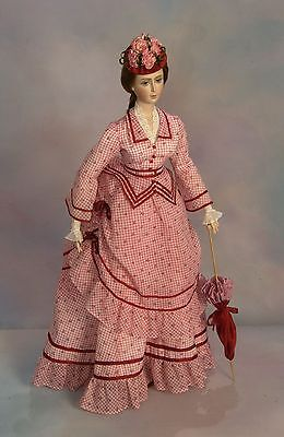 """FOR 24"""" Lady Marion Doll 1870 Summer Visiting Dress Sewing Pattern #85"""