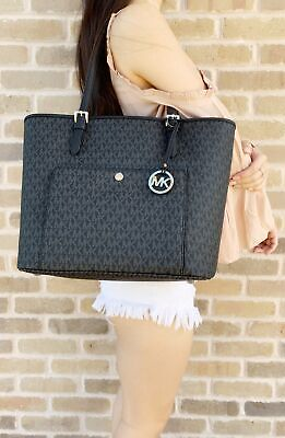 Michael Kors Jet Set Large Top Zip Snap Pocket Tote Handbag Black MK -