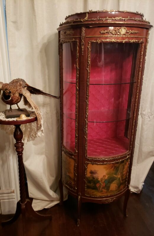 Antique French Curio Cabinet w/ Ormalu/ Hand Painted Vitrine