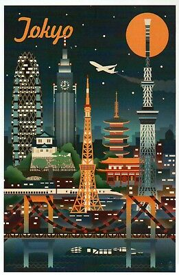 Tokyo Japan Retro Skyline, Airplane, Railroad Train, Moon etc. - Modern Postcard
