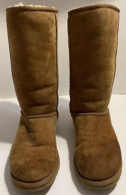 UGG Australia Classic Tall Sheepskin Boots Women Size 6 Chestnut Suede