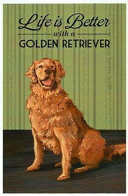 Life is Better with a Golden Retriever, Dog Breed, K9 --- Modern Animal Postcard