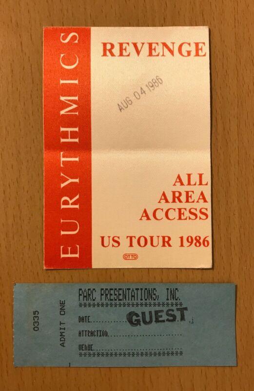 1986 EURYTHMICS GREEK THEATRE LOS ANGELES CONCERT TICKET STUB & BACKSTAGE PASS