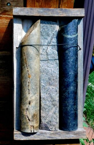 #1532 3 Gold and Silver Ore Cores In their Historic Tray! Great Display! 9#s