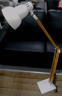 New Large Industrial White Metal Bamboo Folding Gourde Floor Lamp Richmond Yarra Area Preview