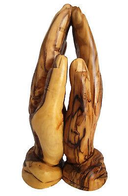 20 cm New Praying Hands Figure Olive Wood Hand-Carved Bethlehem Sculpture