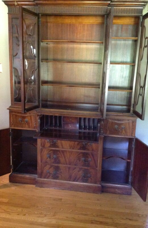 Mahogany Breakfront With Secretary ~Saginaw~ Make Offer!