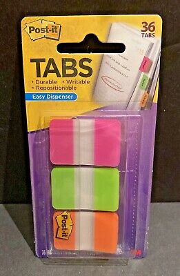 New 3m Post It Tabs 1 X 1.5 66 Tabs Easy Dispenser