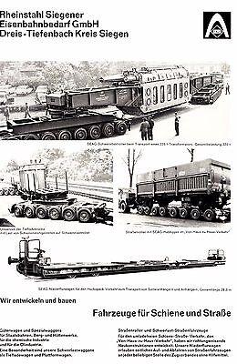 1965 SEAG Rheinstahl Siegener Eisenbahnbedarf ca. 20x29 cm original Printwerbung