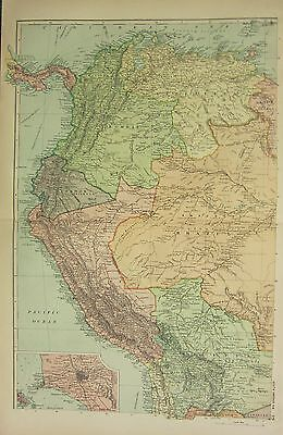 1912 LARGE ANTIQUE MAP ~ SOUTH AMERICA NORTH-WEST PERU BRAZIL ~ ENVIRONS LIMA