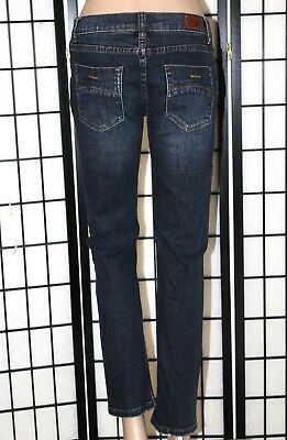 """RSQ London Skinny Youth Size 14 Dark Wash Distressed Stretch Jeans 28"""" Inseam"""