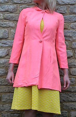 Vintage Retro 1960s Berkertex Mayfair Neon Bubblegum Pink Dress Jacket S 10