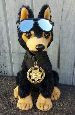 Black Tan German Shepherd Plush Police Dog w K9 Badge Mirrored Aviators charity