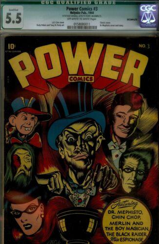POWER COMICS #3-  CGC 5.5(QUALIFIED)- CLASSIC LB COLE CVR-WWII 1944