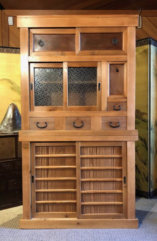 Antique Japanese 2 Section Mizuya Kitchen Tansu Chest