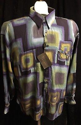 NWT Mens JACK LIPSON SIGNATURE Long Sleeve BLUES/GREENS BLACK Shirt SZ XL, used for sale  Lake Nebagamon