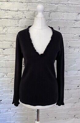 JOHNSTONS OF ELGIN Scottish Cashmere & Silk Ladies Jumper Med M 12 UK Black