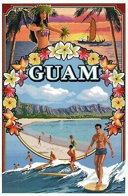 Guam United States Island Territory Montage, Surfing Boat etc. - Modern (Guam Postcard)
