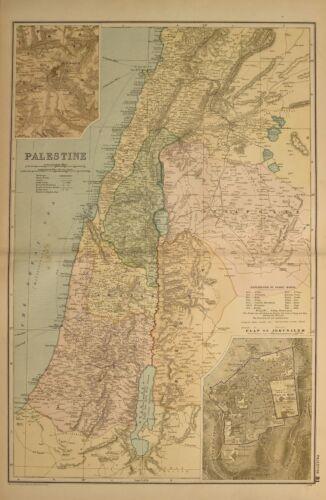1898 ANTIQUE MAP PALESTINE PLAN OF JERUSALEM GALILEE SAMARIA DECAPOLIS