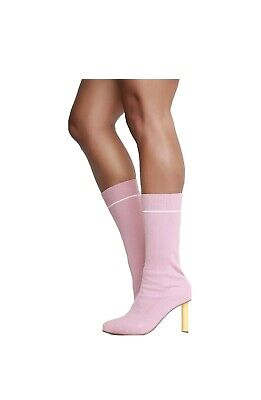 Cape Robbin Dneuce-1 Sock Sweater Mid Calf Boots Rose Pink,Heels Size 8.5